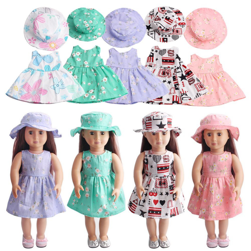 15 Colors Fashion Doll Dress Fit For 18 Inch American Girl Doll Skirt Clothes Toys Accessories Dresses Collection american girl doll clothes superman and spider man cosplay costume doll clothes for 18 inch dolls baby doll accessories d 3