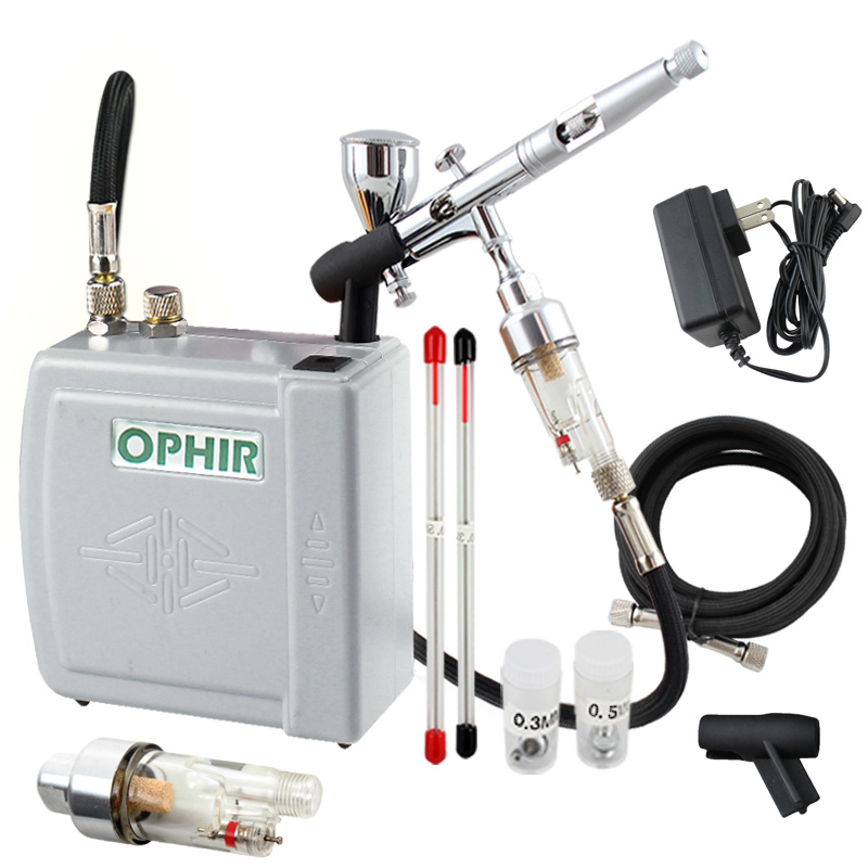 OPHIR PRO Air Compressor with Airbrush Kit 3 Tips Dual-Action Airbrush for Cake Decorating Makeup Nail Art _AC003H+AC070+AC011 ophir airbrush kit with mini air compressor 0 3mm dual action airbrush gun for cake decorating makeup nail art ac003g 004 011