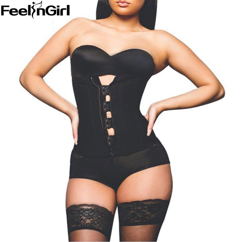 FeelinGirl Zipper And Hook Combo Rubber Latex Waist Trainer Sexy Corset Underbust Waist Cincher Zip And Clip Waist Shaper -A5