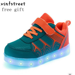 Led Shoes Kids USB Charge Girls Boys luminate Sneakers Children Shoes With Light Up Giowing Shoes Size 25-37