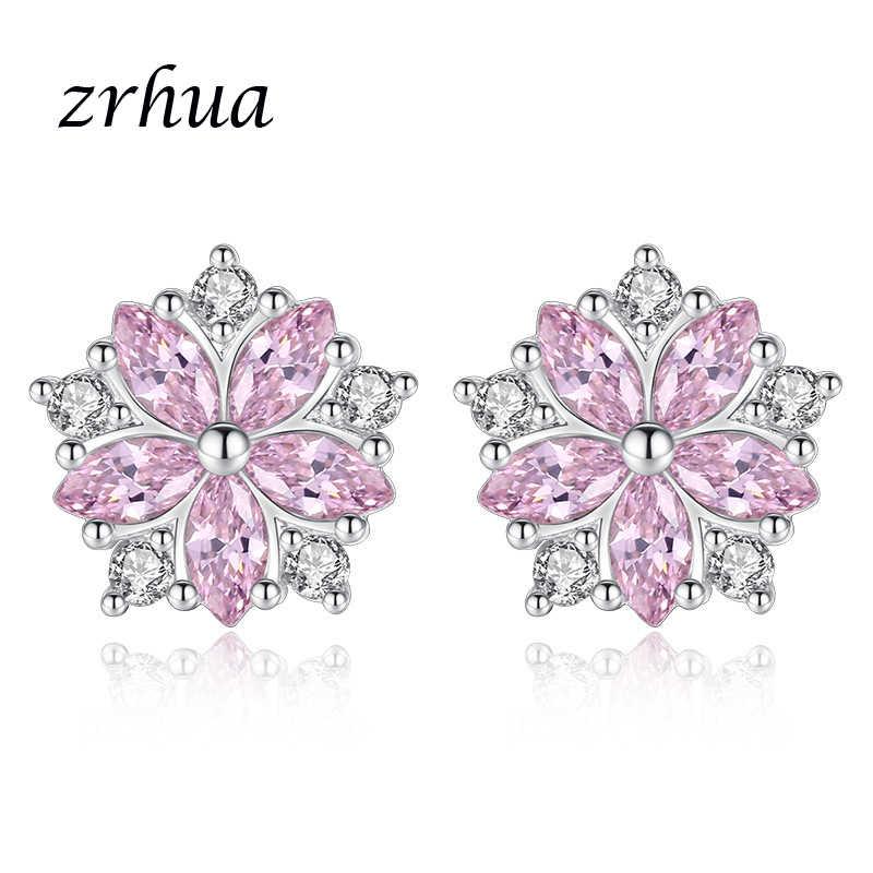 ZRHUA de Plata de Ley 925 pendientes nueva rosa claro CZ Stud pendientes joyería nupcial de la boda Marquis circonita Stud pendiente