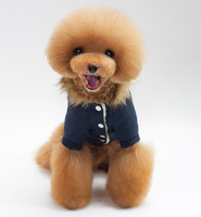 2017 New Pet Clothes Thickening Warm Horns Deduction Cotton Clothing Thick Fur Collar Dog Clothes 171020