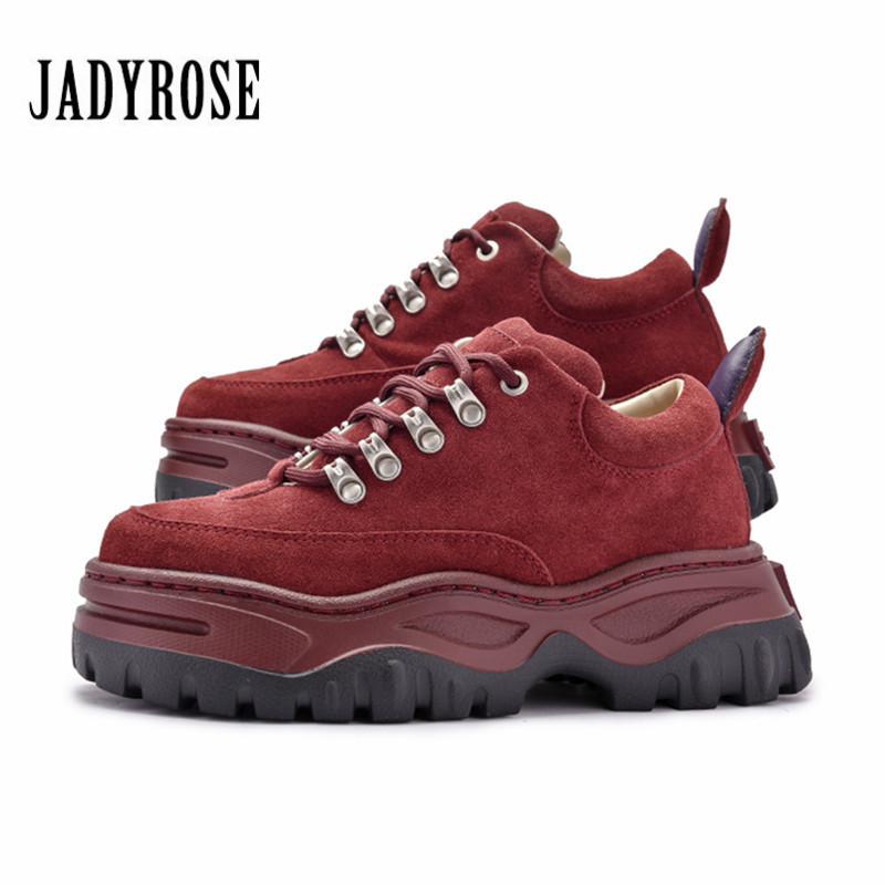 6e3e7c85d Jady Rose Wine Red Women Sneakers Lace Up Platform Creepers Flat Shoes  Woman Ladies Casual Flats Tenis Feminino Espadrilles