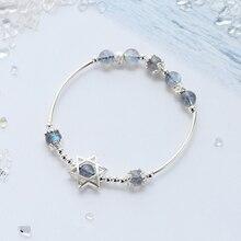 Ruifan Lucky Charm Hexagram Women's Labradorite Blue Light Moonstone Amulet Female Bracelets 925 Silver Bracelet Femme YBR032