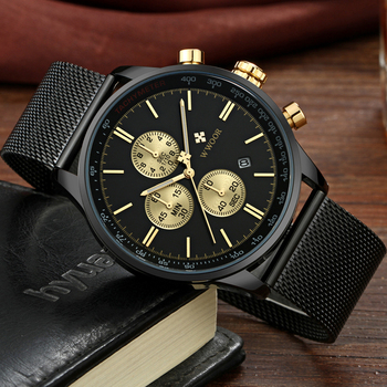 WWOOR Men's Luxury Chronograph Waterproof Stainless Steel Quartz Watches 3