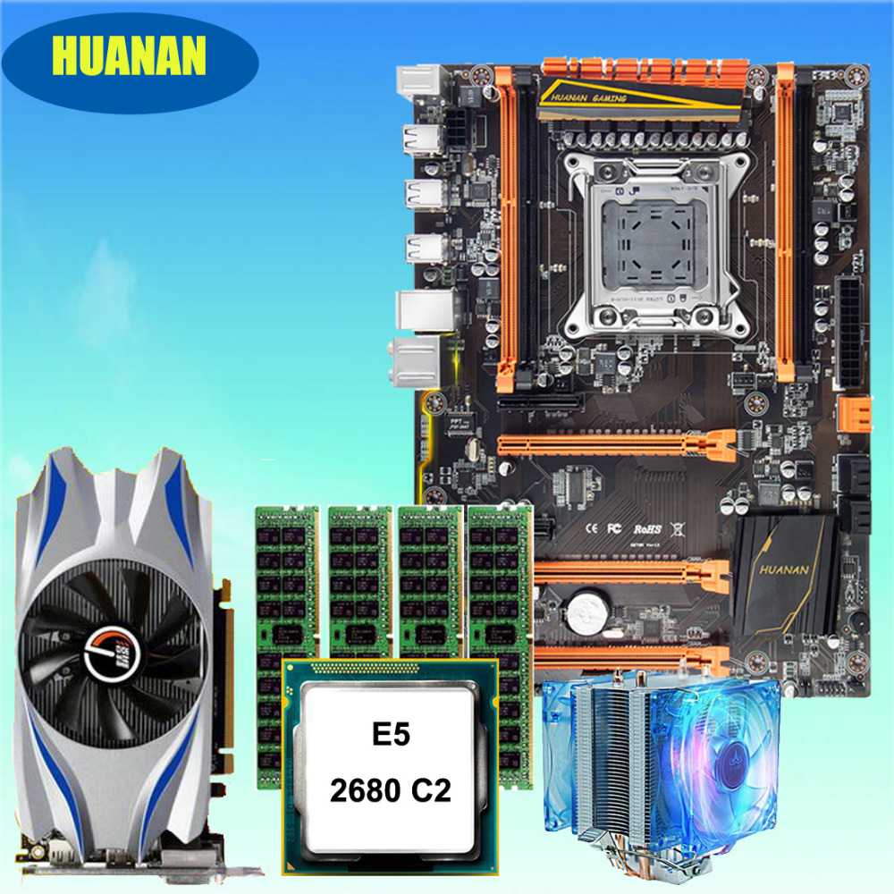HUANAN deluxe X79 motherboard CPU RAM Graphic card combos Xeon E5 2680 C2 with CPU cooler 16G(4*4G) DDR3 RECC GTX650Ti 2GD5 huanan x79 motherboard cpu ram combos with cooler v2 49 x79 lga2011 processor xeon e5 2680 v2 ram 16g 4 4g ddr3 recc all tested