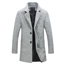 2017 men winter autumn jacket long men's coat slim suit collar long style woolen coat male jacket Casual Wool Peacoats Plus 5XL(China)