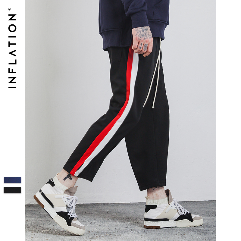 INFLATION 2017 New Autumn Men Straight Cropped Male Streewear Pants Side Stripe Contrast Color Cotton Casual