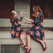 Mother daughter dresses 2019 Vintage Floral A-line Mini Dress Mom and dress outfits clothes C0384