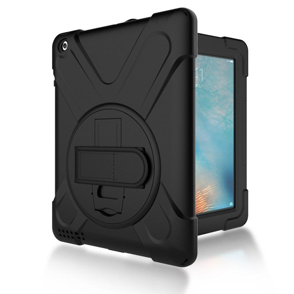 Plein-corps Robuste Hybride Housse de Protection avec Haut-Protecteur D'écran pour le Nouvel iPad 2/3/4 (Noir/Noir)