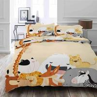 Giraffe white cat Bedding Quilt Cover Duvet Cover Set Pillowcase Microfiber Soft Comforter Bedroom Single Queen King