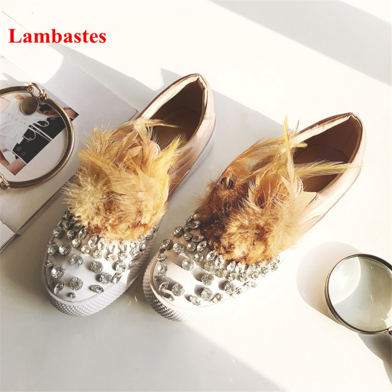 Rhinestone Embellished Black Feather Round Toe Women Casual Shoes Slip On Luxury Brand Lazy Shoes Zapatos Mujer Leisure Loafers stylish rhinestone single feather shape embellished golden bracelet for women