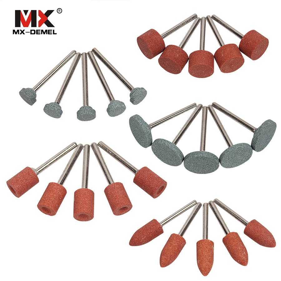MX-DEMEL Abrasive Mounted Stone For Dremel Rotary Tools Grinding Stone Wheel Head for Dremel Accessories 25pcs/set mx demel high quality 17pcs 1 2 felt polishing wheels dremel accessories fits for dremel rotary tools dremel tools small