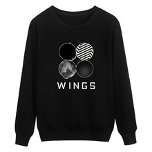 2017 New Pattern BTS Bulletproof Juvenile Group WINGS Letter Pattern Round Neck Long Sleeve Woman 1872