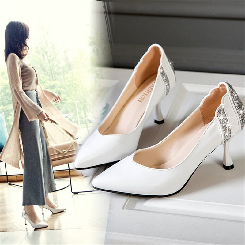 3 Colors Wedding Pumps Crystal Spring Shoes Woman Pumps PU Leather Shoes Woman Shoes Pointed Toe High Heels