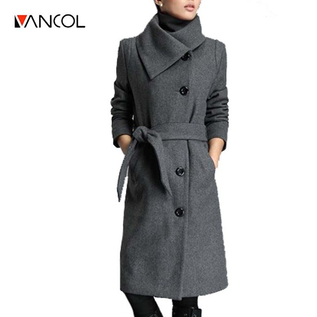 Vancol 2016 Winter Coat Women European Slim Long Sleeve Woolen Jacket with Sashes Black Grey Autumn Plus Size 3XL Female  Coat