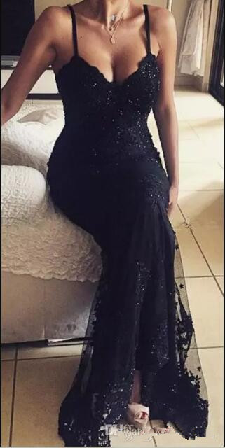 michael korns Sexy Backless Lace Evening Dress 2017 vestido Black Spaghetti Straps Beaded Mermaid Prom Gowns Long Party Dresses