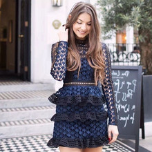 Dress Woman Long Sleeve Stars Hollow Out Evening Party Lace Dresses