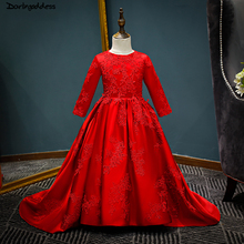 Red Satin Lace Flower Girl Dresses 2018 Long Sleeve Pageant Gowns For Little Girls First Communion Dress Kids Prom Dresses little flower girl dresses crew neckline with collar lace appliques a line white little girls first communion pageant dress 2017