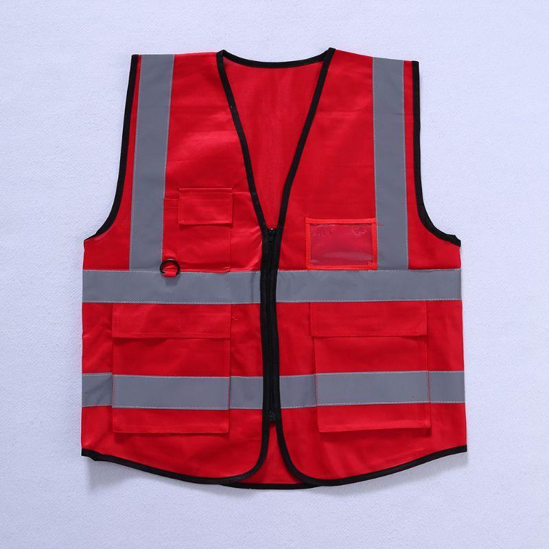 Hi-Vis Safety Vest With Zipper Reflective Security Waistcoat 5 PocketsHi-Vis Safety Vest With Zipper Reflective Security Waistcoat 5 Pockets