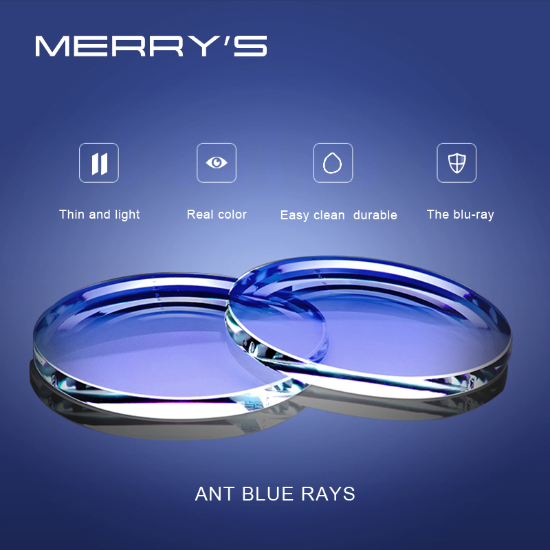 MERRYS Anti Blue Light Series 1.56 1.61 1.67 Prescription CR-39 Resin Aspheric Glasses Lenses Myopia Hyperopia Presbyopia Lens