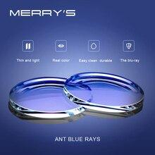 سلسلة مصابيح MERRYS المقاومة للضوء الأزرق 1.56 1.61 1.67 CR 39 وصفة طبية من الراتنج العدسات الكروية عدسات قصر النظر الشيخوخي