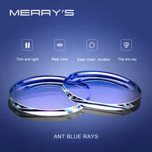 MERRYS Anti Blue Light Blocking 1,56 1,61 1,67 resina de prescripción CR-39 gafas lentes asféricas miopía hipermetropía presbicia lente(China)