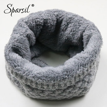 Sparsil Unisex Winter Warm Knitted Ring Scarves Thick Fleece Inside Super Elastic Knit Mufflers Men Women Children Neck Warmers cheap Wool Polyester Cashmere Microfiber 60cm Fashion YTweiboDYC9L5 Solid Adult Solid Color Red Black Gray Yellow Brown Purple Pink Coffee