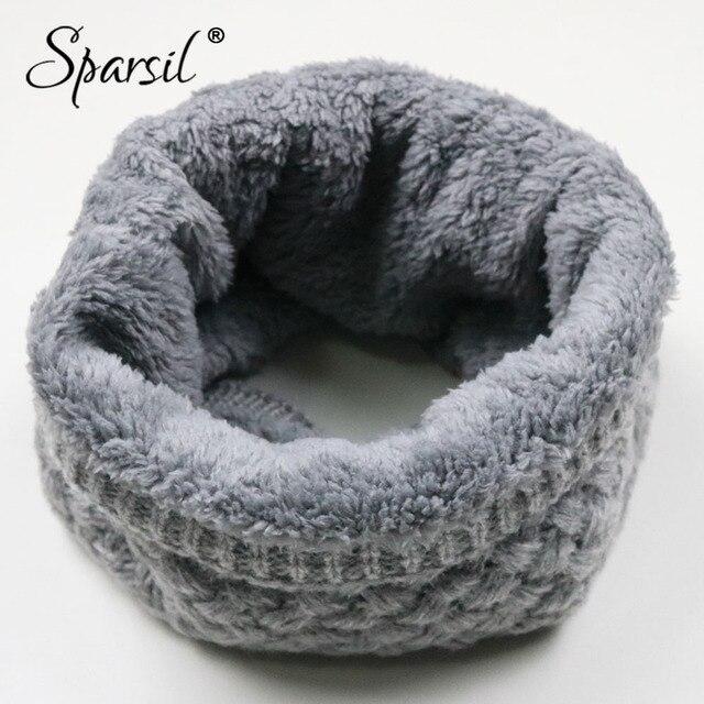 Sparsil унисекс Зимние теплые вязаные кольца шарфы для женщин толстый флис внутри супер Эластичный вязать глушители для мужчин женщин детск