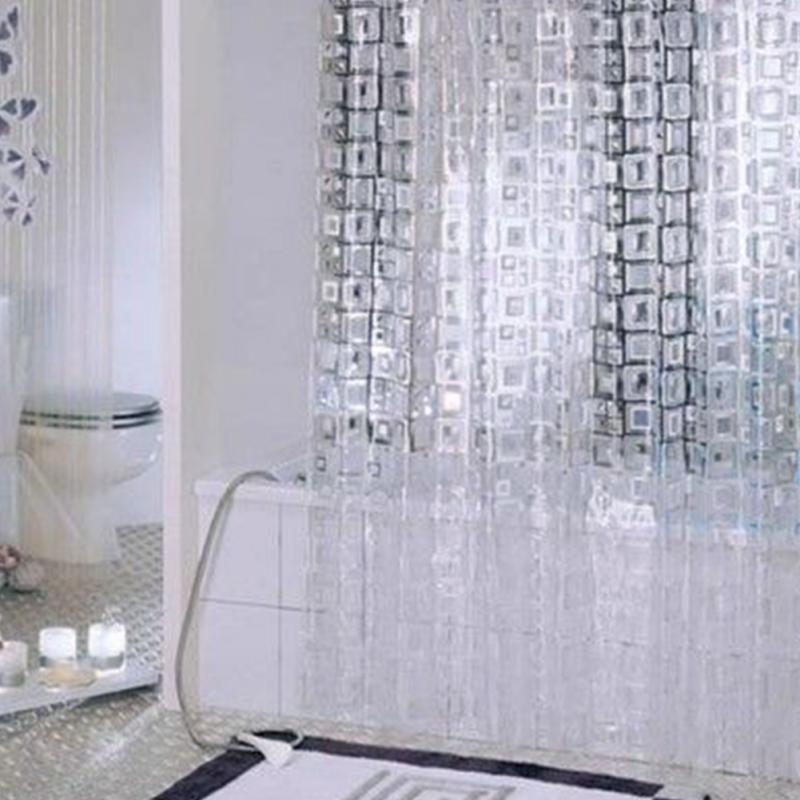 White Transparent Mosaic PVC Bathroom Shower Curtain Hazy Sense Hook Occlusion Home Bath 180180CM