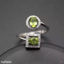 e2f64291f9a0 KJJEAXCMY joyería fina 925 Plata con incrustaciones naturales olivino  anillo cuadrado anillo con alta calidad super fire color f.