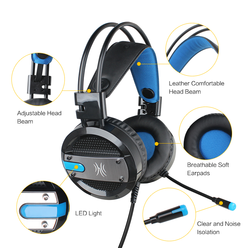 Oneodio Gaming Headset With Microphone USB LED Light Over Ear Wired Hifi Stereo Gaming Headphones For PS4 Xbox Computer PC Gamer oneodio gaming headphones with microphone for phone ps4 computer pc gamer headset hifi stereo wired over ear studio dj headphone