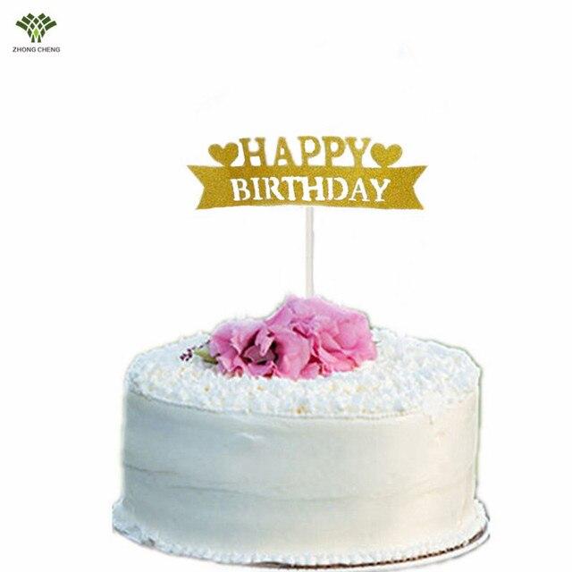 10pcs Happy Birthday Cake Topper Heart Birthday Cake Picks Flag