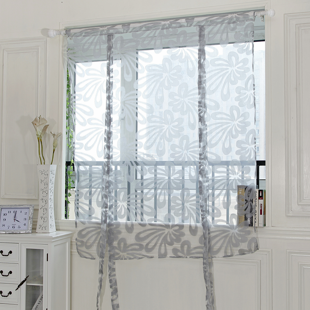 Floral window voile door curtain tulle short curtains for living room bedroom window sheer curtain