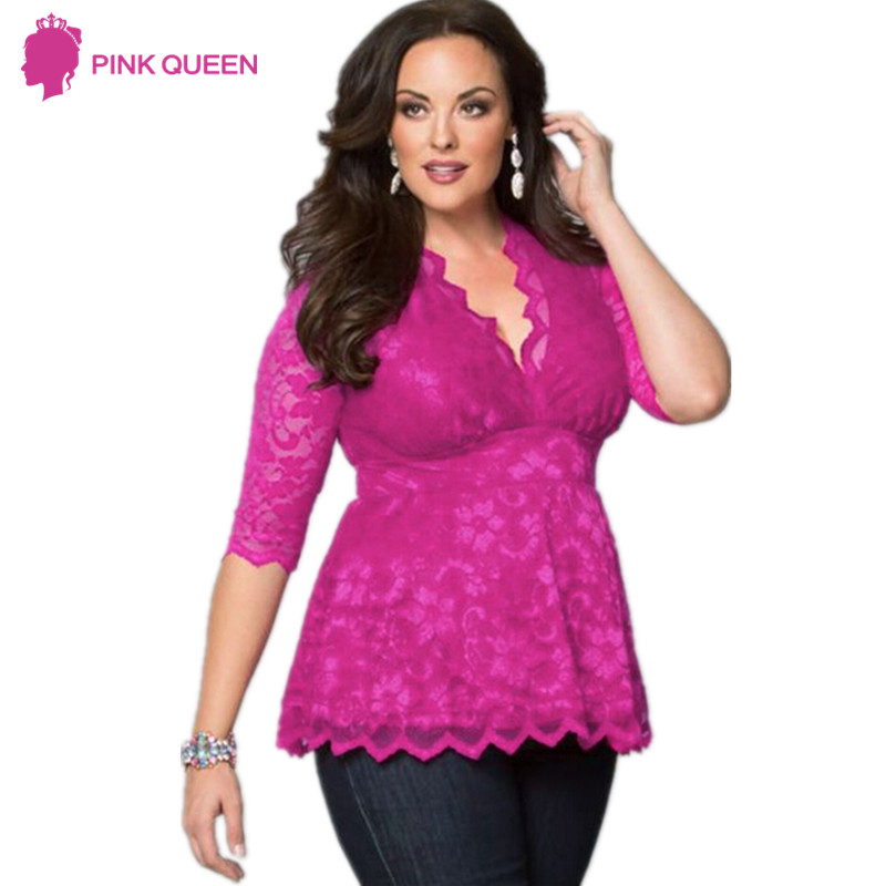 Brand New Womens Plus Size 5xl Fashions T-shirt Female Large Size Clothes Three Quarter Lace V Neck Shirt Dresses Ladies Tops