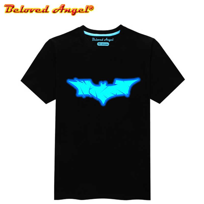בני בנות זוהר חולצות חג המולד ילדי Tshirt באטמן T חולצה תינוקת ילדים קיץ צמרות ילדים טיז זוהר בחושך