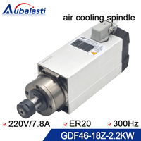 Spindle 2.2kw CNC Router Spindle Motor 220V 7.8A 300HZ ER20 air cooling spindle without seat for CNC milling router machine