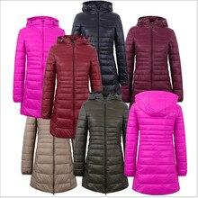2017 New Winter Jacket Women Cotton Coat Slim Parkas Ladies Coat Long Hooded Plus Size Ultra Light  Outerwear  H138