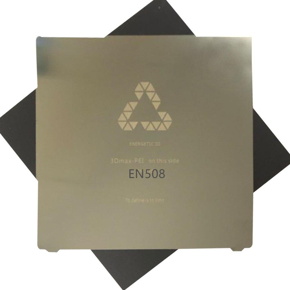 Bilgisayar ve Ofis'ten 3D Yazıcı Parçaları ve Aksesuarları'de Enerjik yeni 508x508mm/20 ''esnek yay çelik levha uygulanan PEI + manyetik sıcak etiket CR 10 s5 3D yazıcı büyük baskı yatak title=