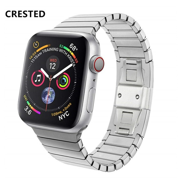 CRESTED Link Bracelet Strap For Apple Watch Band 4 42mm/38mm 3 iwatch band 44mm/40mm Stainless Steel correa watch Accessorie 2/1