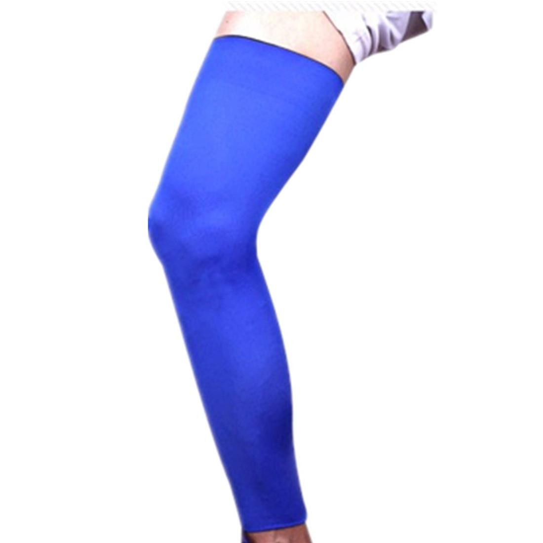 1Pc Knitted Basketball Cycling Men Women Leg Warmers Elastic Stretch High Socks Skinny Stockings Sports Leg Sleeve Blue