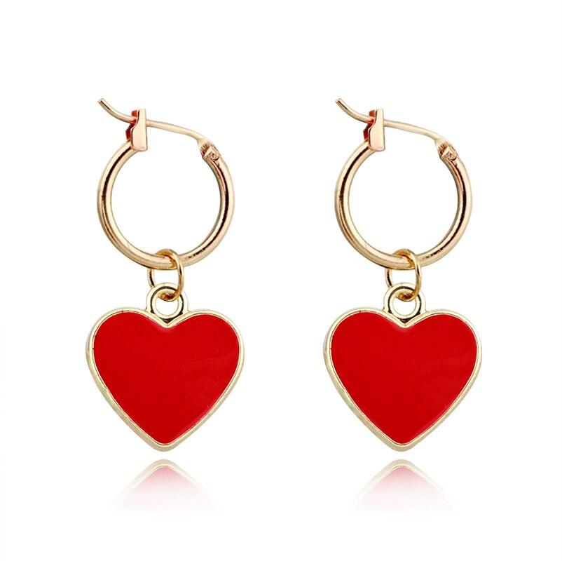 1 Paar Exquisite Europäischen Neue Einfache Nette Kleine Rote Farbe Herz Hoop Ohrring Gold Farbe Runde Charme Ohrring Für Frauen Jewelrye606