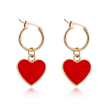 1Pair Exquisite European New Simple Cute Small Red Color Heart Hoop Earring Gold Color Round Charm.jpg 350x350 - 1Pair Exquisite European New Simple Cute Small Red Color Heart Hoop Earring Gold Color Round Charm Earring For Women JewelryE606