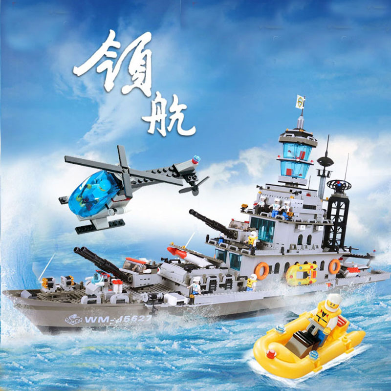 Military Education Building Blocks Toys Children's Gift Warship Destroyer Aircraft Ship Soldier Puppet Weapon Compatible legoe 84005 228pcs military ship kazi warship building bricks blocks sets christmas gift toy compatible with city destroyer