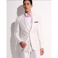 High Quality men Suit White Custom Made Notched Lapel One Button 2017 Groomsman Tuxedos Wedding Suits ( jacket+Pants+vest+tie)