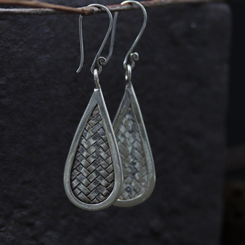 JINSE Braided Bohemia Water Drop Dangle Earrings For 925 Sterling Silver Handmade Earrings Ethnic Jewelry in Drop Earrings from Jewelry Accessories