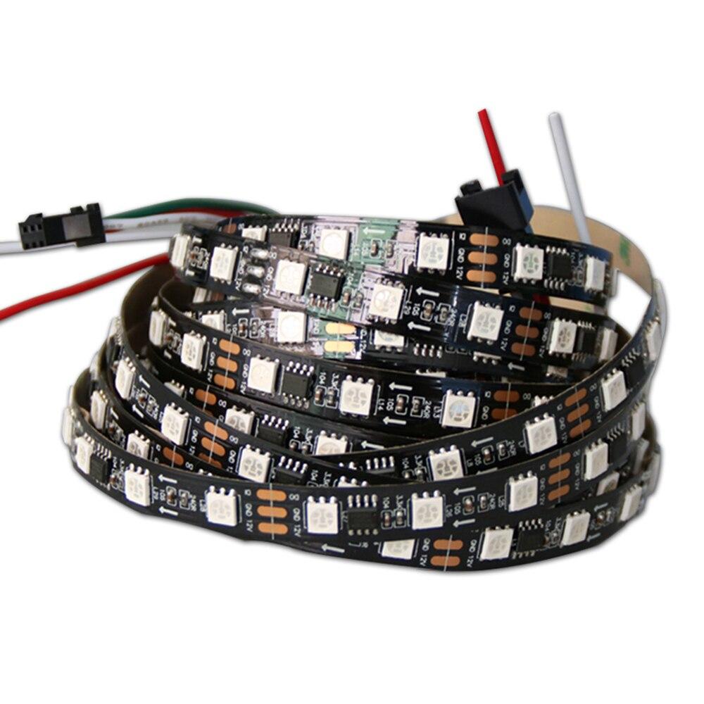 DHL shpping 50M 2811 Pixels Programmeerbare Individuele Adresseerbare LED Strip licht WS2811 5050 RGB 12V Black LED Tape lam - 3