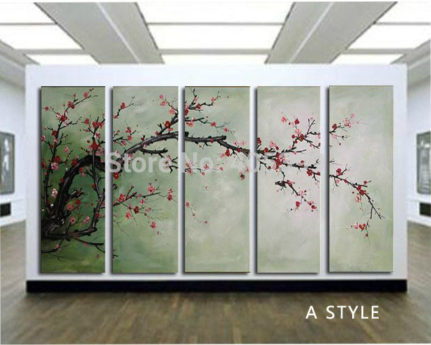 6 Designs 5 Panel Set Canvas Painting 100% Hand painted  Modern Oil Painting on Canvas Chinese Flower Oil Painting JYJLV208
