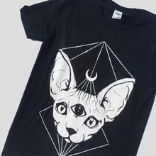 HAHAYULE Punk Gothic Sphynx Cat Head Moon Printed T-shirts Black Witch Symbol Tshirts for Goth Girls Female Cotton Tee Tops(China)