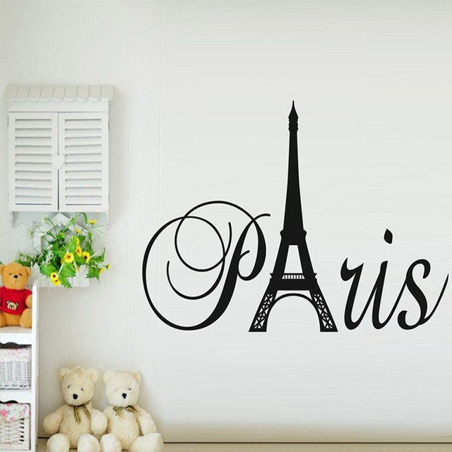 paris art eiffel tower removable vinyl wall stickers decals quote